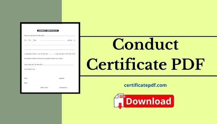 conduct certificate pdf