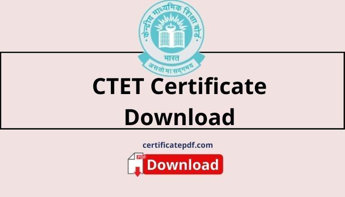 ctet certificate download