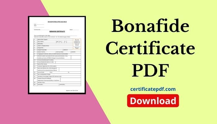 bonafide certificate pdf